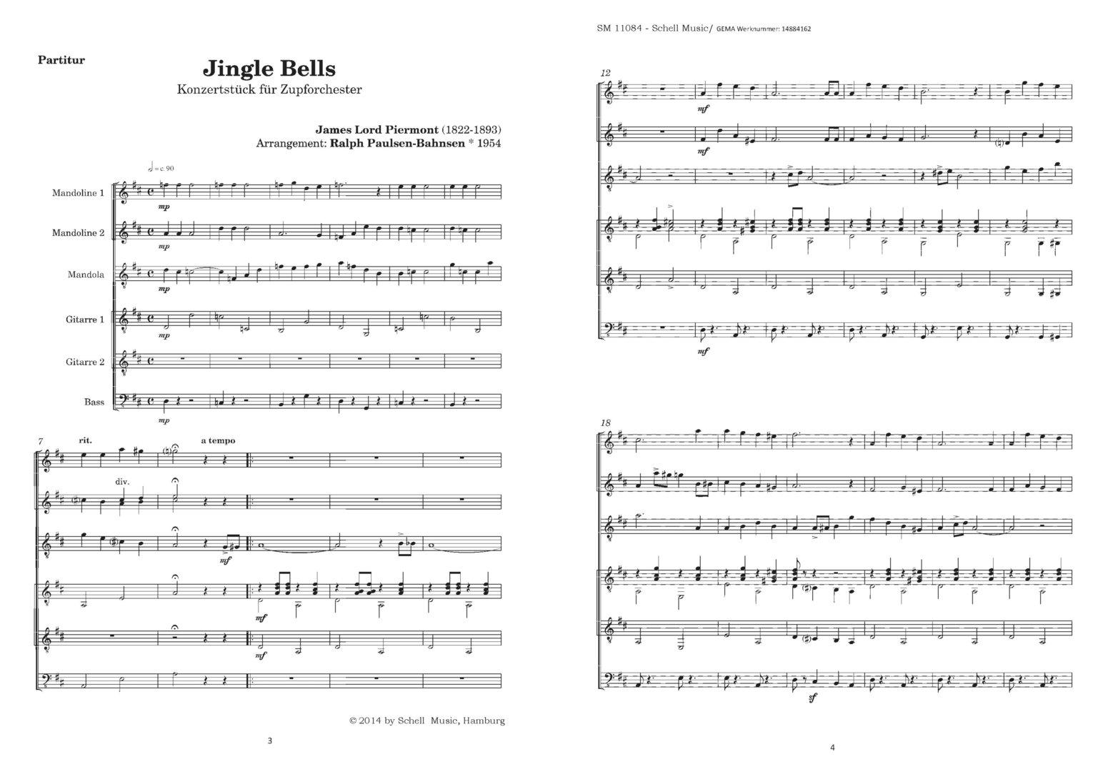 JINGLE BELLS - Konzertstück für Zupforchester (mit Kopierlizenz ...
