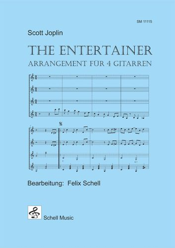 The Entertainer - 4 guitars edition (score & parts, each 2x)