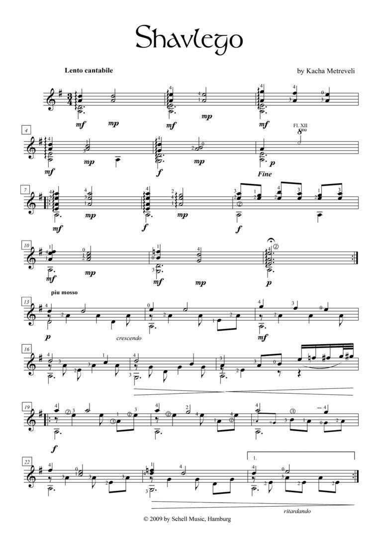 Shavlego-Fantasie on a Georgian Folk Song for Guitar (pdf-download)